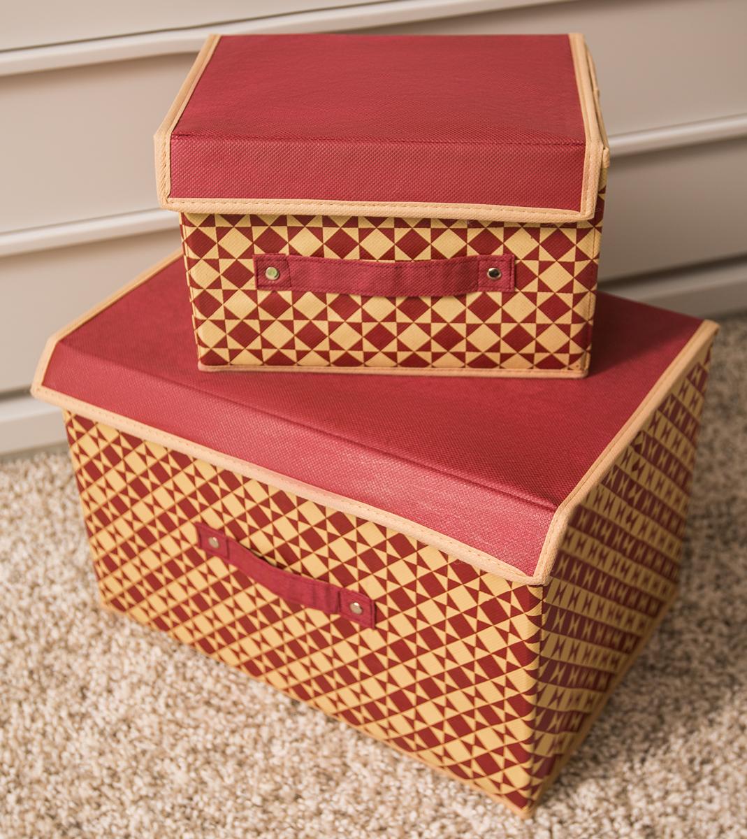 Набор коробок для хранения вещей Homsu, с крышками, 2 штDEN-77Этот комплект состоит из двух вместительных коробочек для хранения вещей, оптимальный размер которых позволяет хранить в них любые вещи и предметы. Все они имеют жесткие борта, что является гарантией сохранности вещей. Набор выполнен из спанбонда и картона, и оформлен принтом.