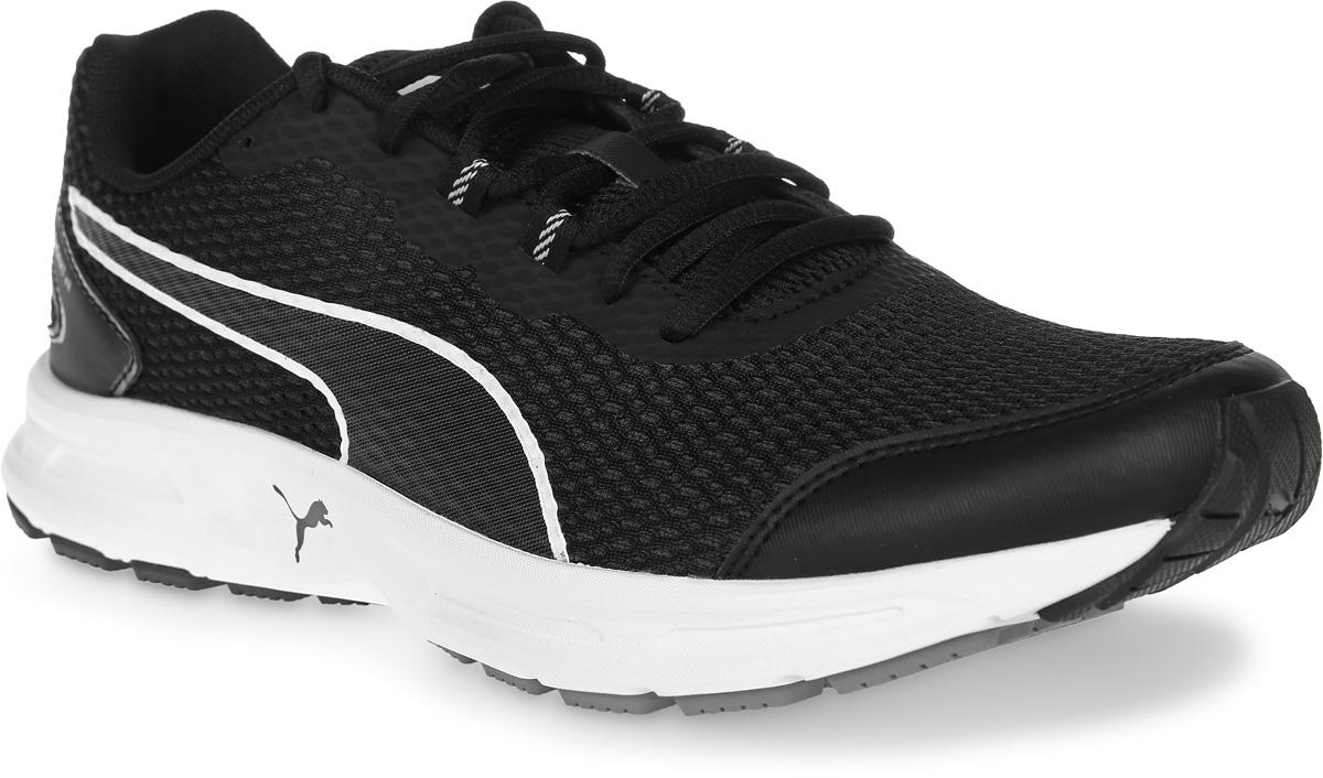 Кроссовки мужские для бега Puma Descendant V4, цвет: черный. 18905605. Размер 9,5 (43)18905605Модель Descendant V4 предназначена для современных атлетов, увлекающихся различными видами спорта, которым требуется отличная беговая обувь. Опираясь на технологические достижения, воплощенные в флагманской модели Speed Ignite 500, созданы такие кроссовки, в которых удобно совершенствовать технику бега. Динамичные силуэт и малый вес Descendant V4 превращают постижение философии бега в удовольствие.