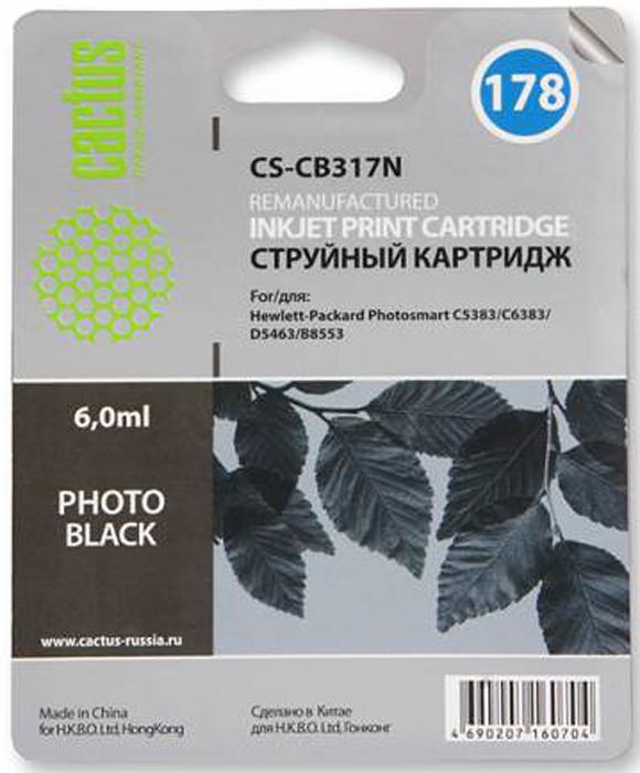 Cactus CS-CB317N Photo, Black струйный картридж для HP B8553/C5383/C6383/D5463/5510/5515/6510/6515 заправка cactus 178n cs rk cb317 320 для hp photosmart b8553 c5383 c6383 d5463 5510 5515 6510 6515 4x30мл цветной