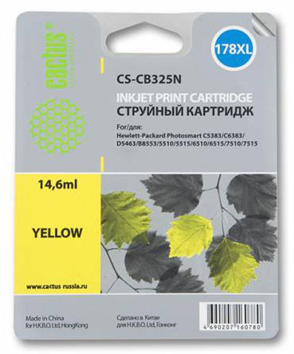 Cactus CS-CB325N, Yellow струйный картридж для HP PhotoSmart B8553/C5383/C6383/D5463CS-CB325NКартридж Cactus CS-CB325N для струйных принтеров HP PhotoSmart.Расходные материалы Cactus для печати максимизируют характеристики принтера. Обеспечивают повышенную четкость изображения и плавность переходов оттенков и полутонов, позволяют отображать мельчайшие детали изображения. Обеспечивают надежное качество печати.