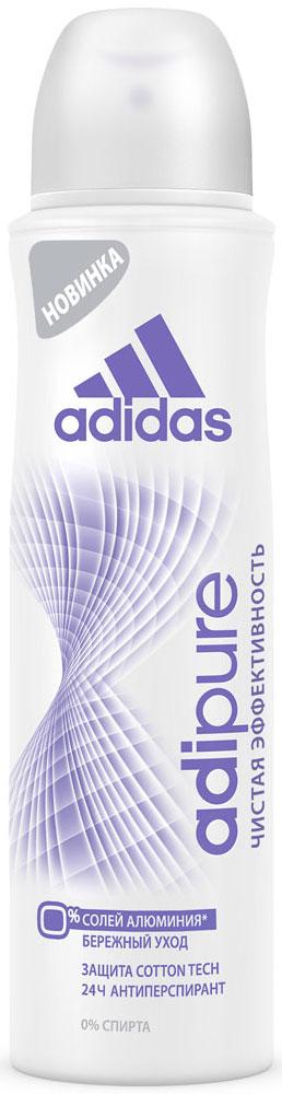 Adidas Дезодорант-антиперспирант спрей Adipure 24 ч, женский, 150 мл3401335125Первый антиперспирант без солей и алюминия. Для чистой эффективности и ухода за кожей.Формула:0% мыла;0% красителей;Ph сбалансирован.Содержит комплекс cotton-tech с увлажняющими компонентами и экстрактом хлопка. Абсорбирующая технология. 0% солей алюминия. Чистая эффективность. Прозрачная текстура.