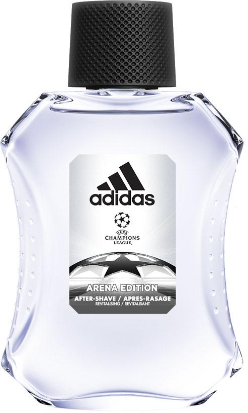Adidas Освежающий лосьон после бритья UEFA III мужской, 100 млGIL-81543450Лосьон после бритья adidas Adidas Arena защищает кожу, уменьшает раздражение, заряжает энергией. Аромат раскрывается нотами бергамота, яблока и розмарина. Они придают композиции взрывную свежесть. Сердце строится вокруг звучания герани и жасмина с ненавязчивым аккордом кориандра.Ноты бобов тонка и пачули создают мощную теплую базу аромата, приправленную мускусом, который продлевает звучание парфюмерной композиции.