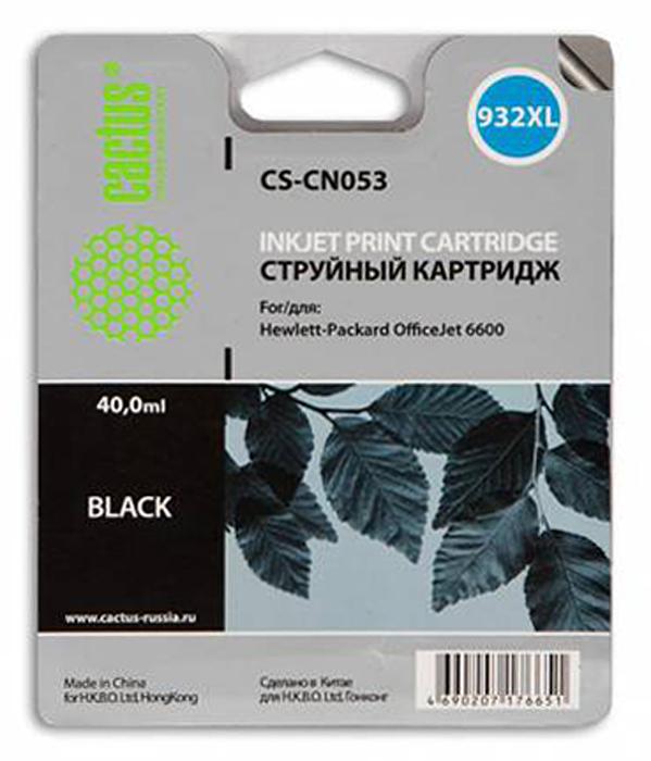 Cactus CS-CN053, Black струйный картридж для HP OfficeJet 6600 картридж для принтера и мфу hp cn053ae 932xl black