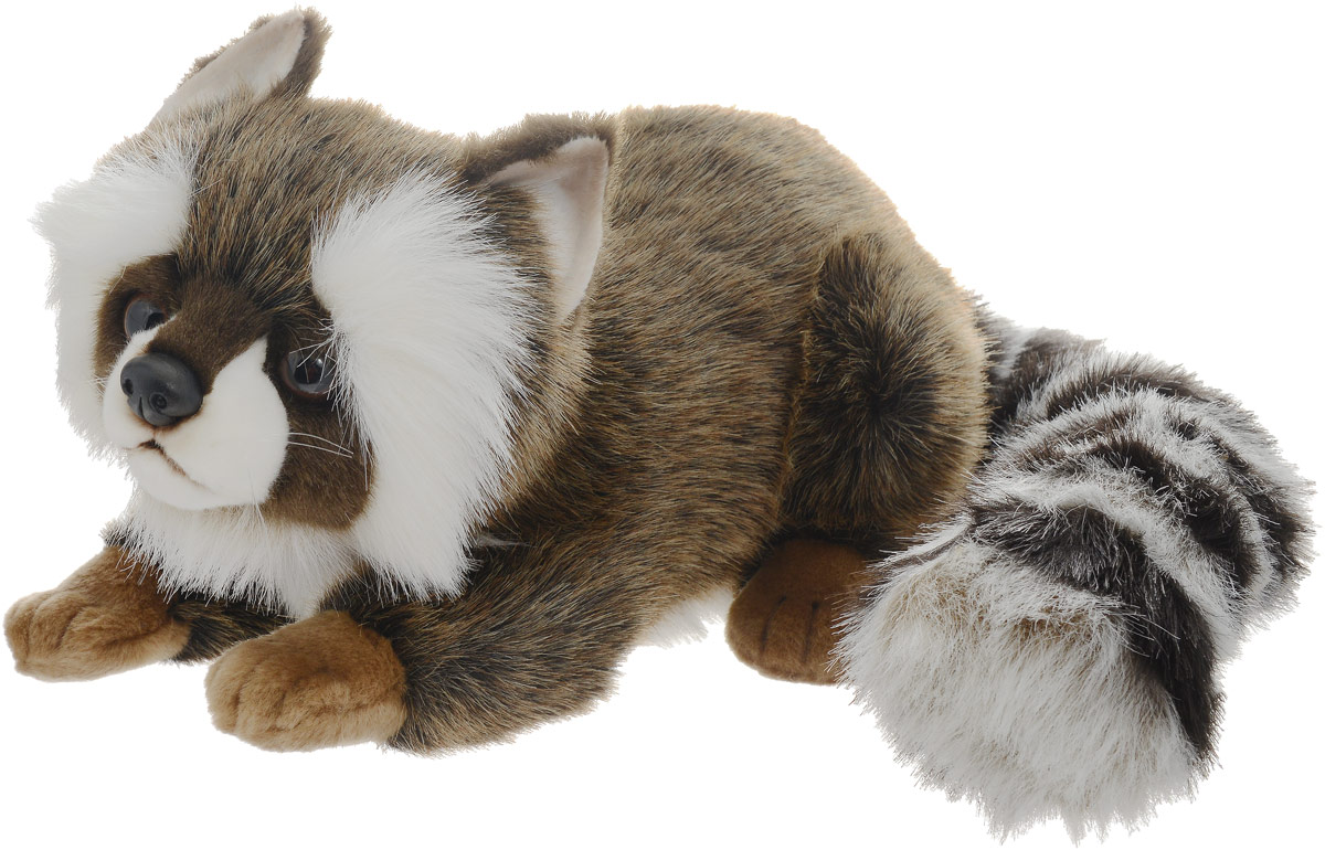 Hansa Мягкая игрушка Енот цвет коричневый белый 35 см