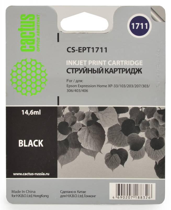 Cactus CS-EPT1711, Black струйный картридж для Epson Expression Home XP-33/103/203/207/303/306/403/406 картридж совместимый для струйных принтеров cactus cs pgi29y желтый для canon pixma pro 1 36мл cs pgi29y