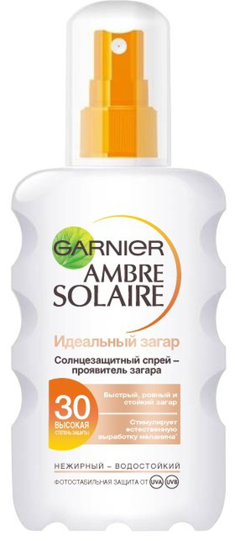 Garnier Ambre Solaire Солнцезащитный спрей-проявитель загара для тела Идеальный загар водостойкий, для светлой, уже загорелой кожи, SPF 30, 200 мл