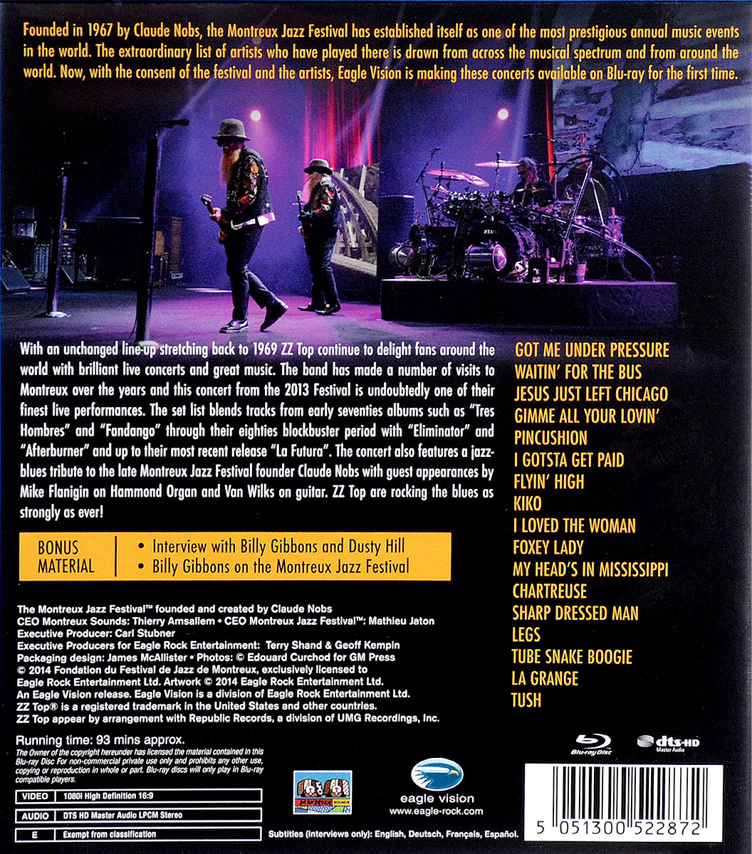 ZZ Top.  Live At Montreux 2013 (Blu-ray) Eagle Vision