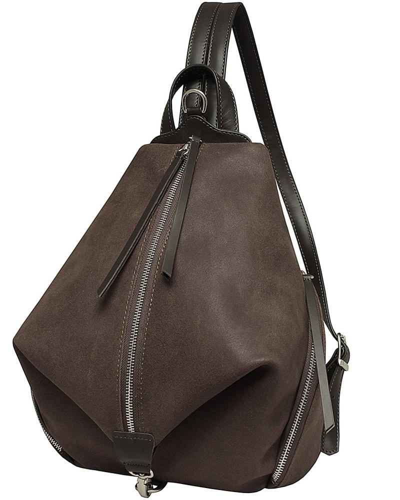 """Удобный эргономичный рюкзак Dimanche """"Синди"""" оригинальной формы выполнен из натуральной кожи. Внутри имеется карман на молнии. Также имеются два больших кармана по бокам, а на задней стенке карман на молнии. Лямки регулируются по длине до 65 см."""
