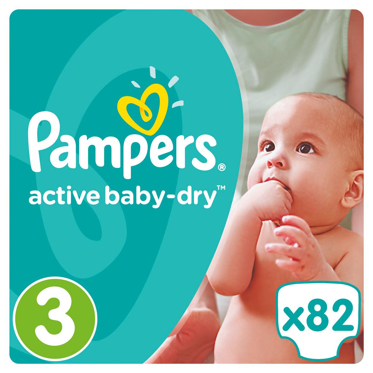 Pampers Подгузники Active Baby-Dry 5-9 кг (размер 3) 82 шт подгузники pampers active baby dry размер 4 7 14 кг 132 шт