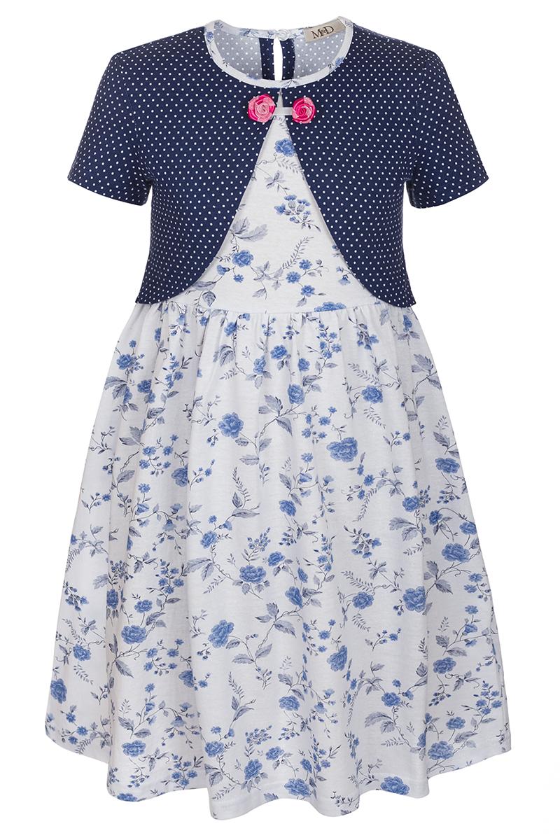 Платье для девочки M&D, цвет: белый, темно-синий, голубой. SJD27061M09. Размер 98SJD27061M09Платье для девочки от бренда M&D приведет в восторг вашу юную модницу! Платье изготовлено из натурального хлопка. На спинке изделие застегивается на пуговку. Модель с круглым вырезом горловины, отрезной талией и короткими рукавами оформлена нежным цветочным принтом и имитацией надетого поверх платья кардигана в мелкий горошек. Пышная юбочка придает платью воздушности и очарования. Декоративные элементы в виде текстильных розочек придают модели изюминку. В таком платье ваша малышка всегда будет в центре внимания.