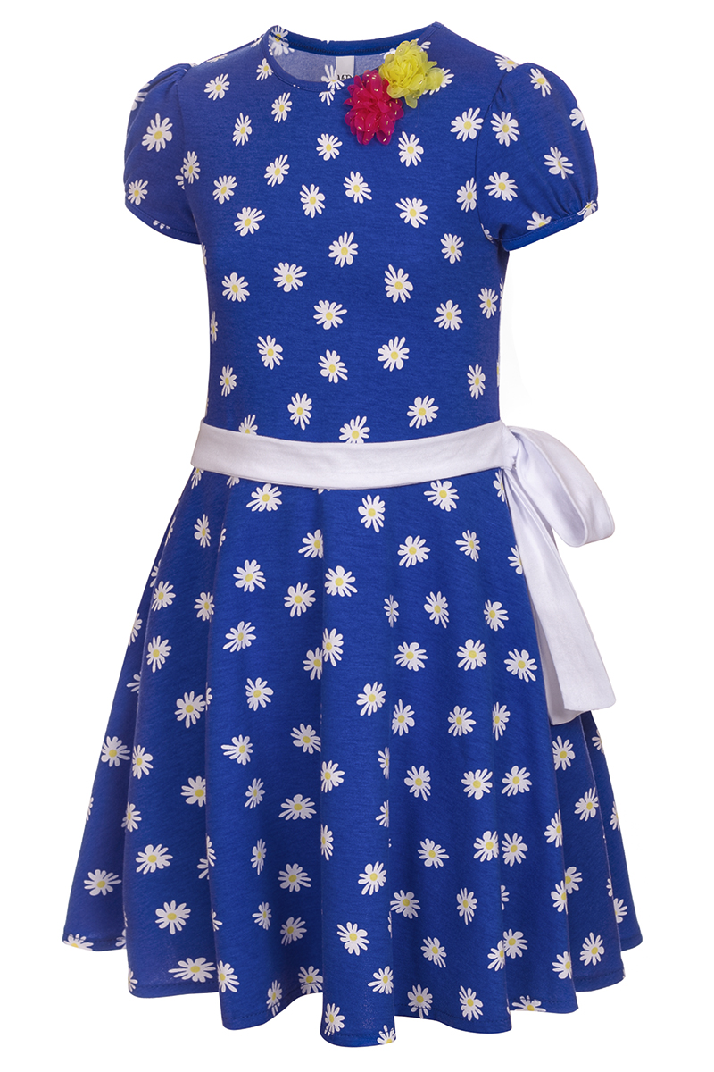 Платье для девочки M&D, цвет: синий, белый, желтый. SJD27062M09. Размер 98SJD27062M09Платье для девочки от бренда M&D приведет в восторг вашу юную модницу! Платье изготовлено из натурального хлопка. Модель с круглым вырезом горловины, отрезной талией и короткими рукавами-фонариками оформлена принтом контрастного цвета. Расклешенная юбочка придает платью воздушности и очарования. Талию подчеркивает широкий трикотажный поясок. В таком платье ваша малышка всегда будет в центре внимания.