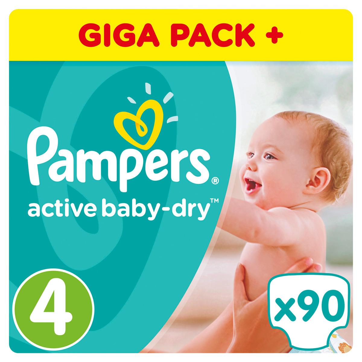 Pampers Active Baby Подгузники Dry 4 (8-14 кг) 90 шт подгузники pampers active baby dry размер 4 maxi 7 14 кг 90 шт
