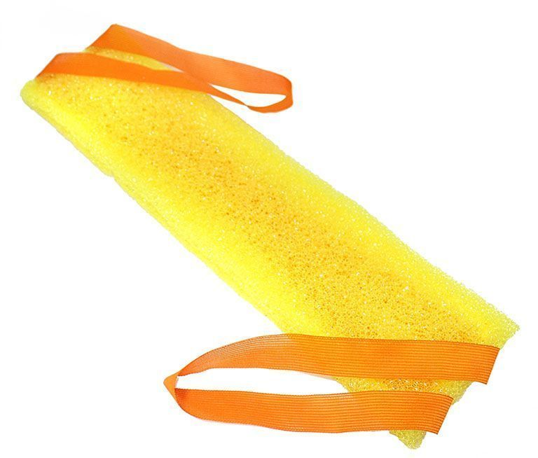 Мочалка Eva Позитив, с ручками, цвет: желтый. М302 tom & eva to037awtji88