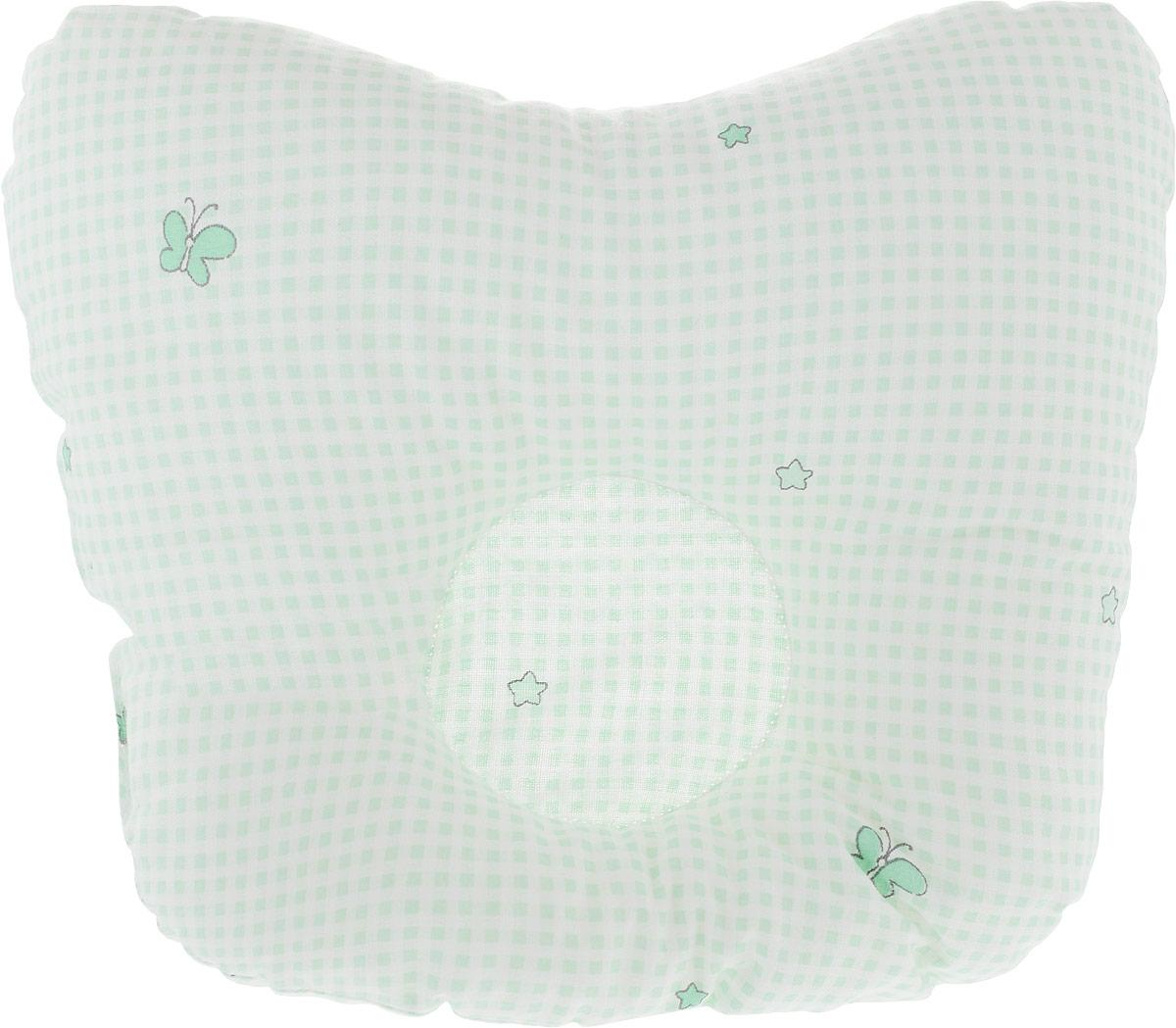 Сонный гномик Подушка анатомическая для младенцев 27 х 27 см555А_салатовыйАнатомическая подушка для младенцев Сонный гномик изготовлена из бязи - 100% хлопка. Наполнитель - синтепон в гранулах (100% полиэстер).Подушка компактна и удобна для пеленания малыша и кормления на руках, она также незаменима для сна ребенка в кроватке и комфортна для использования в коляске на прогулке. Углубление в подушке фиксирует правильное положение головы ребенка.Подушка помогает правильному формированию шейного отдела позвоночника.