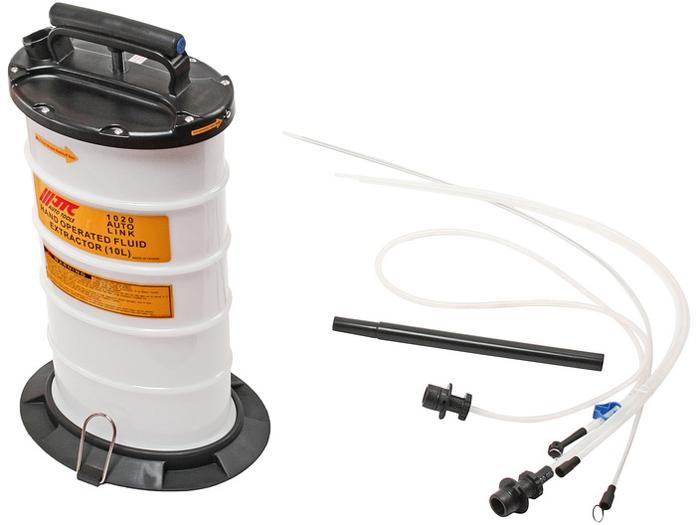 JTC Приспособление для откачки технических жидкостей с ручным приводом, 10 л. JTC-1020JTC-1020Применяется для перекачки технической жидкости с помощью вакуума вручную. Имеет специальную запатентованную конструкцию для создания вакуума. Устойчивое основание для удобства работы.Емкость: 10 л.Размеры: A: Ø 10x1000 мм.; B: Ø 7x1000 мм.; C: Ø 6x1000 мм.; D: Ø 8x1500 мм.Габаритные размеры: 680/260/335 мм. (Д/Ш/В)Вес: 4480 гр.