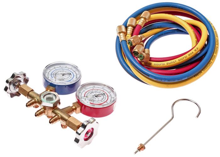 JTC Коллектор манометрический для хладагента R-12. JTC-1106JTC-1106Манометрический коллектор для хладагента R-12, оснащенный 3-мя цветными шлангами длиной 150 см.Имеет смотровое стекло.Высокое давление: 0-500 psi, 0-35 кг/см².Низкое давление: 0-350 psi, 1-24,5 кг/см².Вакуум: 0-76 см. ртутного столба.Количество в оптовой упаковке: 12 шт.Габаритные размеры: 250/185/130 мм. (Д/Ш/В)Вес: 1 гр.