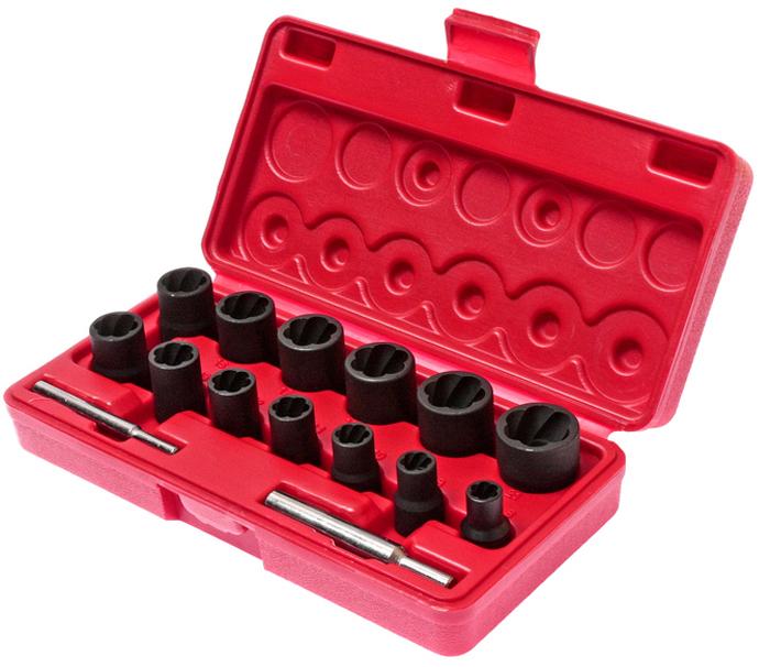JTC Набор головок для поврежденных болтов и гаек, 15 предметов. JTC-1321SJTC-1321SПрименяется для извлечения поврежденных болтов и гаек.Специальная спиральная внутренняя резьба надежно фиксирует поврежденную гайку или головку болта.В комплект входят наиболее востребованные типоразмеры головок.В комплекте: Размеры под ключ 3/8: 8, 9, 10, 11, 12, 13 мм, длина 32 мм. Размеры под ключ 1/2: 14, 15, 16, 17, 18, 19, 21 мм, длина 34 мм. Выколотка, длина 72 мм. Выколотка, длина 80 мм.В наборе 15 предметов.Упаковка: прочный пластиковый кейс.Габаритные размеры: 215/110/50 мм. (Д/Ш/В)Вес: 1000 г.