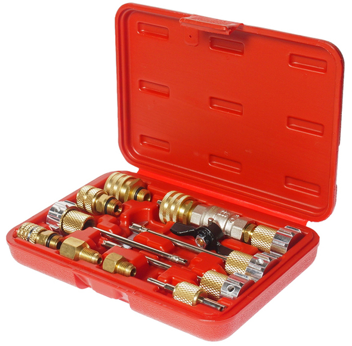 JTC Набор для снятия и установки клапанов кондиционира. JTC-1360AJTC-1360AПрименение комплекта позволяет заменить клапаны кондиционера без разгерметизации системы и потери хладагента.В комплект входит фиксирующее приспособление, которое удерживает шток клапана во время замены клапана.В комплекте:Клапан.Стандартный съемник клапана. Стандартный съемник клапана GM большого диаметра.Съемник клапана JRA R134.Съемник клапана Вольво (Volvo) и 8 мм.Коннектор R134а HØ16.Коннектор R134а LØ13.Коннектор поворотный 5/16;FL.Коннектор поворотный 1/4;FL.Адаптер 1/4;Мх3/16;F.Адаптер 1/4;Мх1/2;F ACMEF.Ключ М14.Съемник клапанов линий высокого и низкого давления.Габаритные размеры: 200/135/40 мм. (Д/Ш/В)Вес: 814 гр.