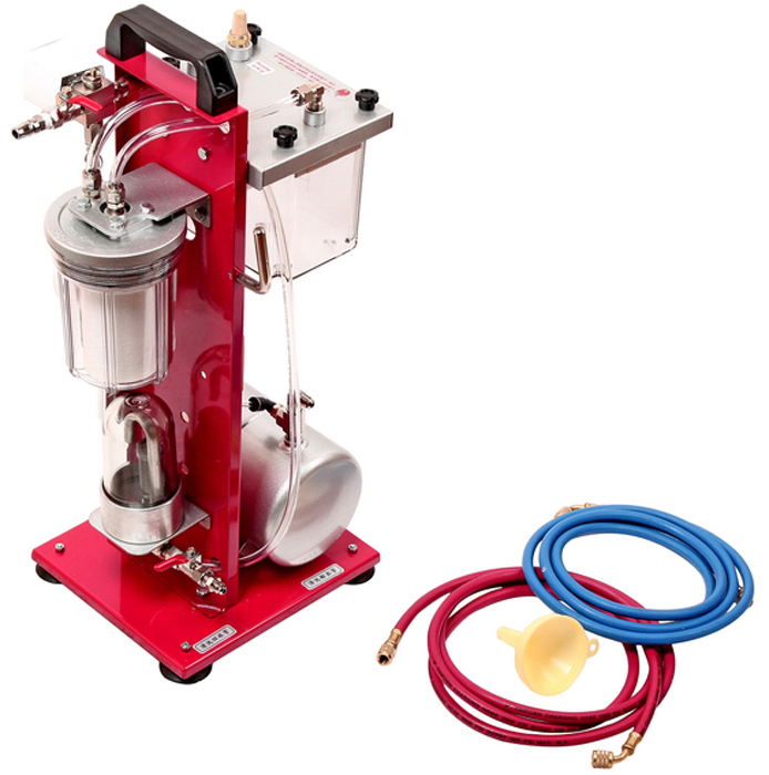 JTC Установка для промывки системы кондиционирования. JTC-1409JTC-1409Пневматическая установка, не дающая искру. Проста в управлении. Очистка системы происходит за счет циркуляции промывочного сольвента. Применение установки для промывки системы кондиционирования продлевает срок службы компрессора и всей системы в целом. Конструкция с сетчатым фильтром и 5-ю фильтрующими элементами не только очищает компрессор, но и продлевает срок службы всей системы. Обладает компактными размерами. Габаритные размеры: 620/310/240 мм. (Д/Ш/В) Вес: 9000 гр.Объем резервуара: 2 л;Долив жидкости происходит при выключенной установке.