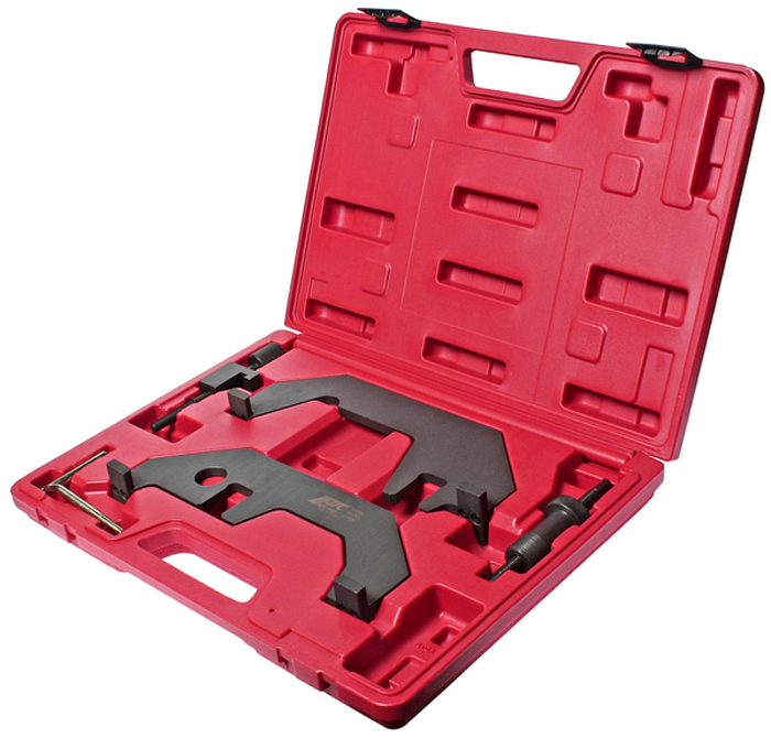 JTC Набор для фиксации распределительного вала (BMW N62/N73). JTC-1435AJTC-1435AПрименение: автомобили БМВ (BMW) с двигателями N62/N73. Инструмент используется для фиксации распределительных валов во время установки фаз ГРМ. Применяется также для проверки и регулировки зазоров клапанов. В комплекте:Установочный шаблон для фиксации распредвала впускных клапанов.OEM номер: 11 9 461.Установочный шаблон для фиксации распредвала выпускных клапанов.OEM номер: 11 9 462.Держатель установочного шаблона.OEM номер: 11 9 463.Фиксатор маховика в ВМТ.OEM номер: 11 9 190. Упаковка: прочный пластиковый кейс.Габаритные размеры: 380/270/50 мм. (Д/Ш/В) Вес: 2800 гр.