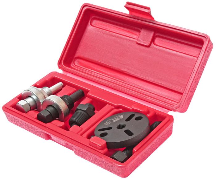 Набор для снятия муфты компрессора кондиционера JTCJTC-1609Предназначен для замены муфт компрессоров на автомобилях Форд (Ford) FS-6, Крайслер (Chrysler) C-171 и Nippondenso 6P-148. Применяется для компрессоров типов: GM R4, A6, HR-6, DA-6 и V5 A/C. А также для компрессоров Sanden SD505, 507, 508, 510, 575, 708 и 709. Пластина съемника с отверстиями различной формы подходит для большинства типов муфт.