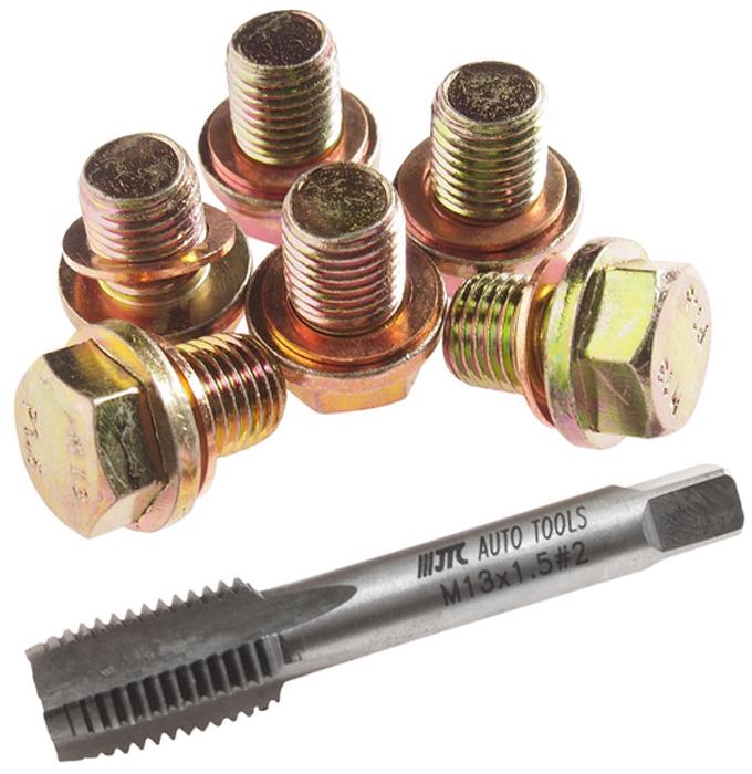 JTC Набор для ремонта резьбы маслосливных отверстий, 13 мм. JTC-2030JTC-2030Применяется для ремонта поврежденной/сорванной резьбы маслосливных отверстий двигателя размером 12 мм.Для восстановления резьбы применяется метчик 13 мм.Затем ввинчивается заглушка 13 мм. с шайбой.В комплекте:Метчик М13х1.5 – 1 шт.Заглушки: М13 – 6 шт.Шайба медная: М12 – 6 шт.Общее количество предметов: 13 шт.Габаритные размеры: 100/90/30 мм. (Д/Ш/В)Вес: 330 гр.