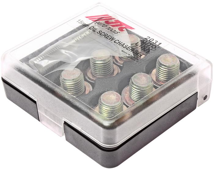 JTC Набор для ремонта маслосливных отверстий, 15 мм. JTC-2031JTC-2031Применяется для ремонта поврежденной или сорванной резьбы маслосливных отверстий двигателя размером 14 мм.Для восстановления резьбы используется метчик 15 мм.Затем ввинчивается заглушка 15 мм. с шайбойВ комплекте:Метчик: М15х1.5 (1 шт.)Заглушки: М15 (6 шт.)Шайба медная: М15 (6 шт.) Габаритные размеры: 105/95/30 мм. (Д/Ш/В)Вес: 408 гр.