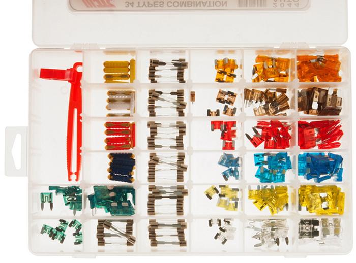 JTC Набор предохранителей, 34 вида, 232 шт. JTC-2044 standard 120pcs set auto automotive car boat truck blade fuse box assortment 5a 10a 15a 20a 25a 30a power tool accessories