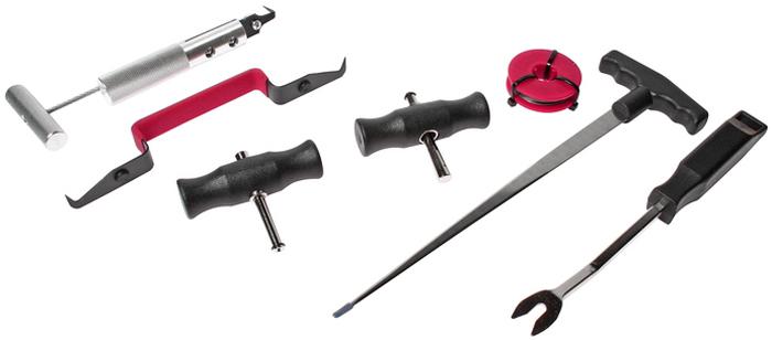 JTC Набор для демонтажа стекол, 7 предметов. JTC-2525JTC-2525В комплекте: Нож для демонтажа уплотнителя (JTC-2520).Струна (JTC-2522).Держатели (JTC-2522).Шило для заправки струн (JTC-2523).Инструмент для извлечения креплений.Инструмент для снятия лобового стекла. Количество в оптовой упаковке: 6 шт. и 12 шт.Габаритные размеры: 430/270/45 мм. (Д/Ш/В)Вес: 1170 гр.