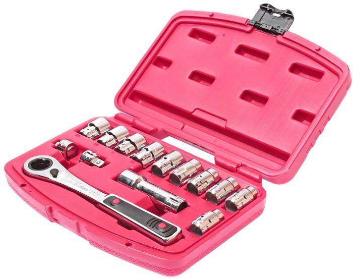 Набор головок JTC,со сквозным отверстием 10-19 мм, 14 предметов. JTC-3439JTC-3439Набор инструмента в чемодане для автомобиля включает торцевые головки со сквозным отверстием с шестигранным профилем, ключ-трещоткаи удлинитель для них, а также адаптеры для головок с посадочным квадратом 1/4 и 1/2 10 ед. головок: 10, 11, 12, 13, 14, 15, 16, 17, 18, 19 мм. 2 ед. адаптеры под ключ 3/8, 1/4Dr. 1 ед. удлинитель. 1 ед. трещотка с реверсивным механизмом 72 зуба. Упаковка: прочный пластиковый кейс. Габаритные размеры: 240/180/45 мм. (Д/Ш/В) Вес: 1029 гр.