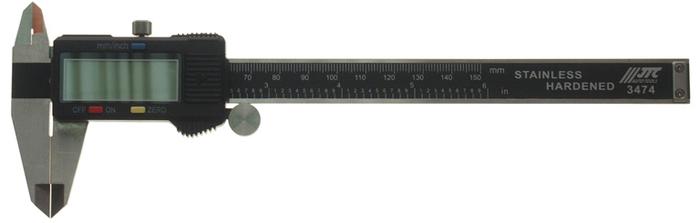 JTC Штангенциркуль с цифровым дисплеем. JTC-3474JTC-3474Предназначен для проведения измерений в ходе ремонтных работ.Оснащён цифровым дисплеем с функцией сброса.Материал: нержавеющая сталь.Точность измерения: 0.01 мм.Возможность измерения в метрической и дюймовой системе.Диапазон измерений: 150 мм.Количество в оптовой упаковке: 10 шт. и 50 шт.Габаритные размеры: 245/90/30 мм. (Д/Ш/В)Вес: 314 гр.