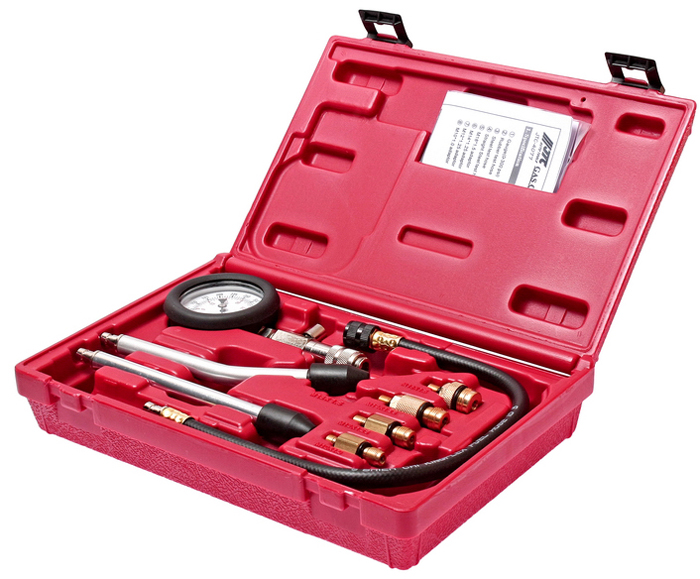 Компрессометр для бензиновых двигателей JTC, с набором адаптеров. JTC-4077JTC-4077Компрессометр JTC предназначен для проведения измерений компрессии в бензиновыхдвигателях автомобилей.Оснащен соединительным замком и выпускным клапаном, а такжевысокопрочной соединительной трубкой и надёжным фиксатором.2 трубки с резиновойзаглушкой, прямая и изогнутая. Комплектация включает в себя 4 адаптера, что позволяет использовать прибор для всехмоделей автомобилей. Адаптеры: M10x1.0, M12x1.25, M14x1.25, M18x1.5. Упаковка: прочный переносной кейс. Габаритные размеры: 305 x 200 x 75 мм. (Д/Ш/В) Вес: 1157 гр.
