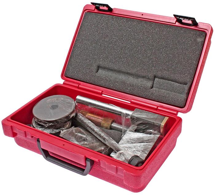 JTC Набор для снятия и установки задних сайлентблоков подрамника. JTC-4096JTC-4096Все работы выполняются прямо на автомобиле. Съемник предназначен для замены задних сайлентблоков подрамника. Применение инструмента дает возможность без особых усилий устанавливать/снимать сайлентблоки, не демонтируя подрамник с кузова. Применение: БМВ (BMW) E39. Упаковка: прочный переносной кейс. Габаритные размеры: 300/200/120 мм. (Д/Ш/В) Вес: 4844 гр.