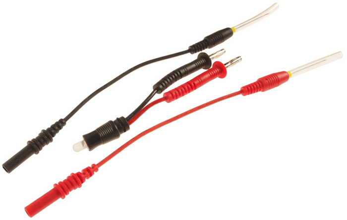 JTC Тестовые щупы с LED-индикацией. JTC-4237JTC-4237В комплекте: 1 шт. – тестовый диод, 2 шт. – щупы (красный и черный).Щупы изготовлены из нержавеющей стали, что способствует продолжительной эксплуатации.LED-индикатор горит желтым при контакте с «+» и красным при контакте «-».