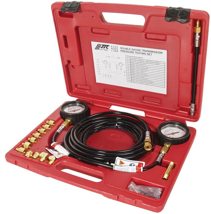 JTC Набор для тестирования давления масла КПП с двумя манометрами. JTC-4250JTC-4250В набор входят два манометра для высоких и низких значений давления; низкое давление: 100 фунт на кв. дюйм; высокое давление: 500 фунт на кв. дюйм. Девять адаптеров позволяют применять набор для большинства марок автомобилей. В комплект также входят четыре специальных приспособления (угловые фитинги), которые обеспечивают доступ в труднодоступные места КПП под углом 45 и 90 градусов. Применение: подходит для большинства марок автомобилей. Также применяется для проверки тормозной системы и ABS. Упаковка: прочный переносной кейс.