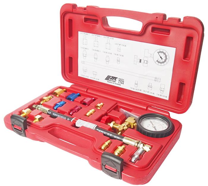 JTC Тестер давления масла гидроусилителя руля. JTC-4251JTC-4251Прибор предназначен для замера давления масла в системе гидроусилителя.Позволяет выявить различные неполадки в работе системы ГУР, а также утечки технической жидкости.Позволяет сэкономить рабочее время и быстро определять проблемные места.В комплект входит манометр с измерительным клапаном и шкалой измерения до 2000 фунт/дюйм².В комплекте также: соединительный шланг, 13 адаптеров и справочная таблица с рабочими характеристиками для различных автомобилей.Применение: подходит для большинства марок автомобилей. Упаковка: прочный переносной кейс. Габаритные размеры: 300/235/70 мм. (Д/Ш/В) Вес: 1366 гр.