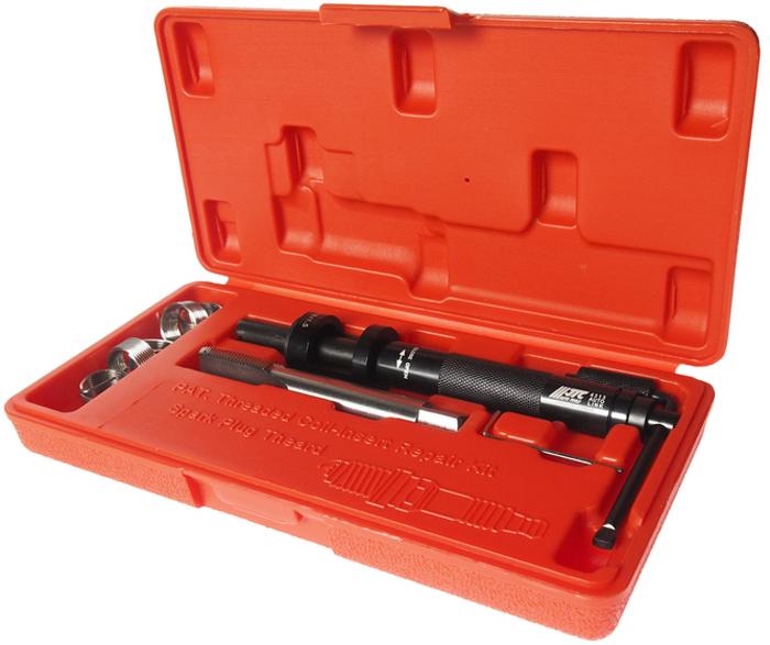 """JTC Набор для восстановления резьбы свечей зажигания, пружинная вставка, 5 шт. JTC-4313JTC-4313Набор специально предназначен для реконструкции резьбы свечей зажигания. В комплект входит направляющая втулка, специальные метчики и шестигранный ключ. Характеристики вставок: М18х1.5 (5/8"""") – 5 шт. Размер: М18х1.5. Габаритные размеры: 240/130/40 мм. (Д/Ш/В) Вес: 620 гр."""