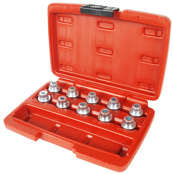 JTC Набор головок для секреток колесных дисков BMW. JTC-4318JTC-4318Используется с головкой 17 мм. Применяется для монтажа и демонтажа секреток колесных дисков большинства моделей автомобилей БМВ (BMW). В комплекте: #30 (13PT), #31 (15PT), #32 (16PT), #33 (17PT), #34 (18PT), #35 (19PT), #36 (20PT), #37 (21PT), #38 (22PT), #40 (23PT). Габаритные размеры: 200/135/45 мм. (Д/Ш/В)Вес: 590 гр.