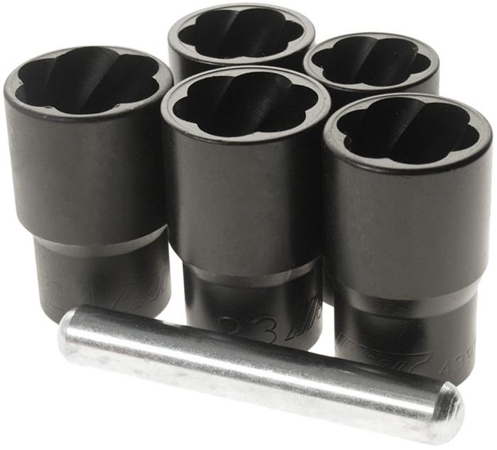 """JTC Набор головок для поврежденных болтов, 6 предметов. JTC-4399JTC-4399Используют для откручивания поврежденных болтов и гаек. Специальная спиральная конструкция позволяет легко демонтировать поврежденные болты и гайки. Может применятся для демонтажа секретных болтов и гаек. Размеры: 1/2"""" DRх19, 21, 22, 23, 24 мм. Длина: 50 мм. Габаритные размеры: -/-/- мм. (Д/Ш/В) Вес: - гр."""
