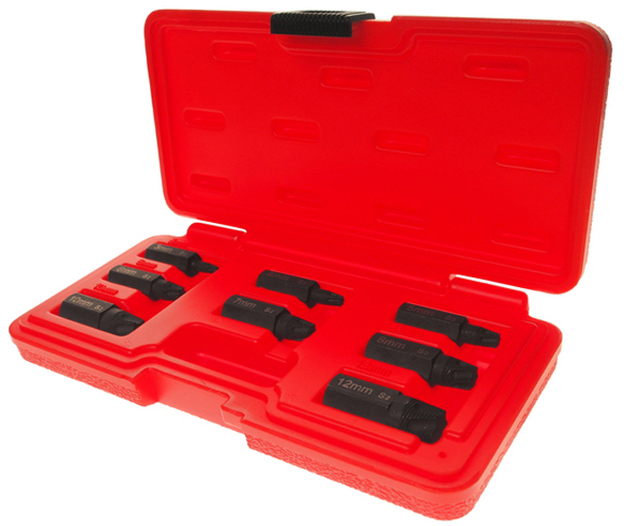 JTC Набор экстракторов 3-12 мм, 8 предметов. JTC-4453JTC-4453Специальная укороченная конструкция позволяет использовать приспособления в условиях ограниченного пространства. Высокая эффективность удаления поврежденных болтов. Применяются для отворачивания обломанных болтов Torx, Torx plus, Torx Security. Размеры: 3, 4, 5, 6, 7, 8, 10, 12 мм. Материал: С2, твердость: HRC 58-60.