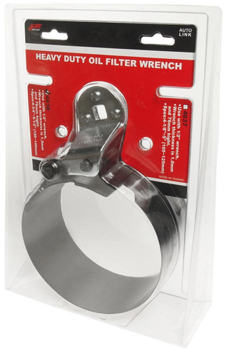 JTC Ключ для снятия масляного фильтра ленточный усиленный, 120-140 мм. JTC-4638JTC-4638Используется с ключом 1/2.Толщина ленты 1,0 мм, высота - 76 мм.Диаметр захвата: 4-3/4 - 5-1/2 (120-140 мм).