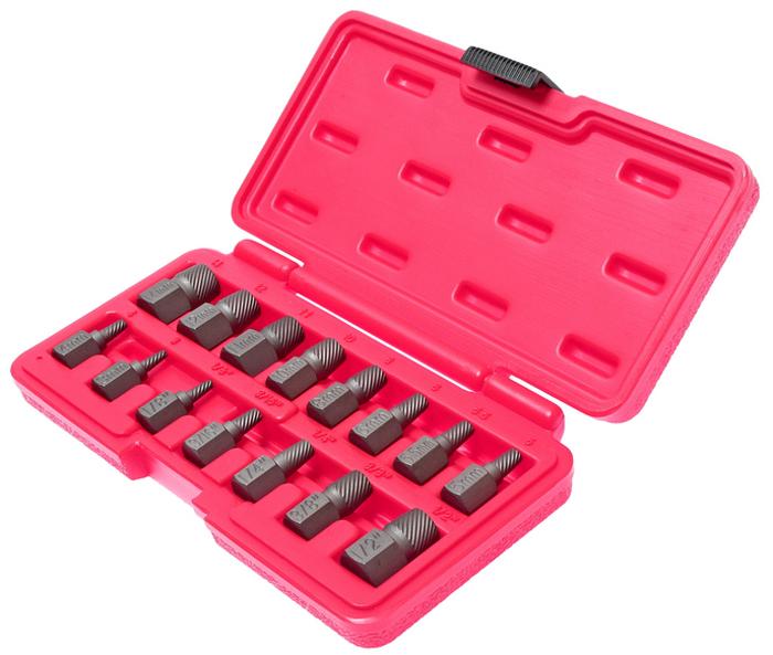 Набор экстракторов JTC, 15 предметов. JTC-4639JTC-4639Набор экстракторов JTC, выполненный из стали, используется с гаечным ключом или головкой.Специальная укороченная конструкция позволяет использовать приспособление в условиях ограниченного пространства.Вбить инструмент в поврежденный болт и затем вывернуть.Размеры: 3 мм; 4 мм; 5 мм; 5,5 мм; 6 мм; 8 мм; 10 мм; 11 мм; 12 мм; 14 мм. 1/8, 3/16, 1/4, 3/8, 1/2.Набор поставляется в прочном пластиковом кейсе.