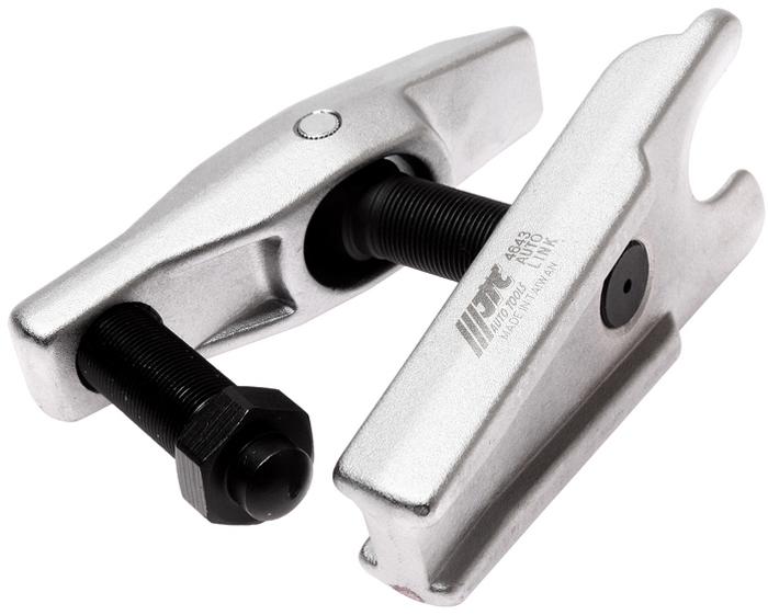 JTC Съемник шаровых опор рычажного типа. JTC-4643JTC-4643Предназначен для снятия шаровых опор, наконечников рулевой тяги, стабилизатора поперечной устойчивости и др. Диаметр 32 мм.Максимальный вылет: 80 мм. Количество в оптовой упаковке: 10 шт.Габаритные размеры: 180/120/95 мм. (Д/Ш/В) Вес: 2449 гр.