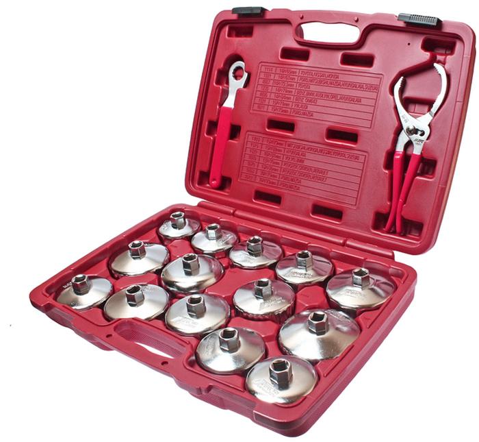JTC Набор съемников масляных фильтров, 16 шт. JTC-4666JTC-4666Съемник масляного фильтра чашка набор 16 шт. JTCХарактеристики Применяется с инструментом под квадрат 1/2 или ключом 21 мм.Головки изготовлены из стали.В комплекте: 14 головок для масляного фильтра: JTC-1114 - 65/14 граней (TOYOTA, NISSAN) JTC-1021 - 67/14 граней (FORD, MITSUBISHI, MAZDA) JTC-1235 - 74/14 граней (МВ, ВМW, AUDI, VW, OPEL) JTC-1403 - 79 мм/15 граней (MITSUBISHI, HONDA, NISSAN, TOYOTA) JTC-1515 - 82 мм/15 граней (HYUNDAI, KIA) JTC-1521 - 74 мм/15 граней (VW, AUDI) JTC-1523 - 99 мм/15 граней (TOYOTA) JTC-4670 - 86 мм/18 граней (французы) JTC-4695 - 84 мм/14 граней (BENZ OM642)1 клещи для масляного фильтра JTC-1601. 1 ключ накидной 21 мм/12 граней. Упаковка: прочный переносной кейс.Габаритные размеры: 435/320/85 мм. (Д/Ш/В)Вес: 4428 г.