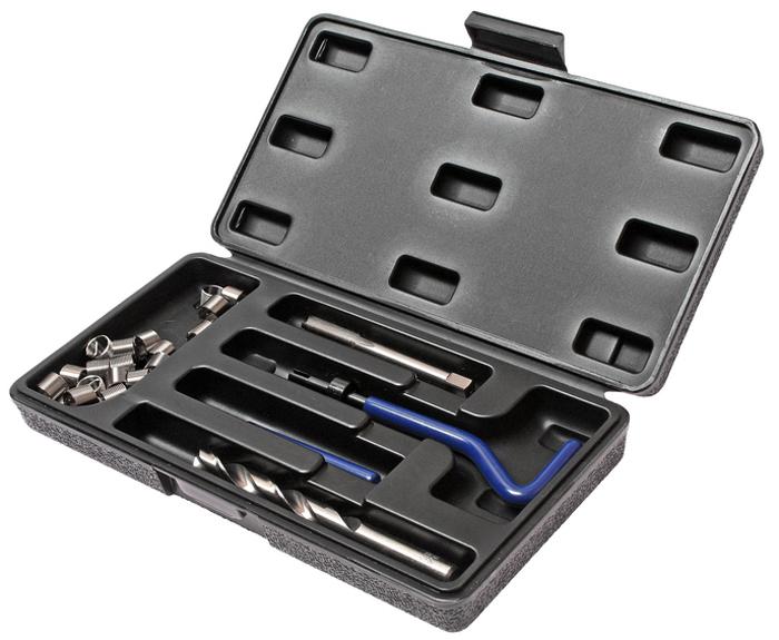 JTC Набор для восстановления резьбы (вставки M10x1,0, длина 13,5 мм, 10 шт), 14 предметов. JTC-4791JTC-4791В комплекте 14 предметов В комплект входят: сверло, метчик, установочный инструмент, инструмент для обламывания хвостовика, резьбовые вставки Размеры: М10х1.0 Длина: 13.5 мм. Количество резьбовых вставок: 10 шт. Упаковка: прочный пластиковый кейс. Габаритные размеры: 245/130/40 мм. (Д/Ш/В) Вес: 459 гр.