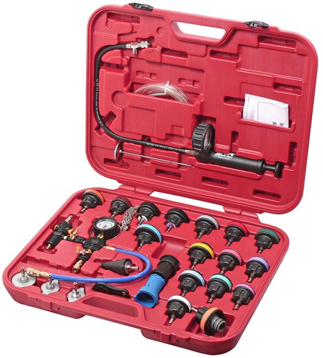 Набор для тестирования давления в радиаторе JTC, многофункциональный. JTC-4842AJTC-4842AНабор для тестирования давления в радиаторе JTC, многофункциональны. Характеристики: Для работы с диагностическим набором для тестирования радиаторов нетребуется специальная подготовка. Принцип данного набора прост: с помощью ручного насоса, который имеетбыстроразъёмное соединение с ниппелем сброса давления, подключается припомощи специальной радиаторной крышки из набора. После чего создаютдавление в системе охлаждения двигателя. Утечка, в случае если она находитсяв радиаторе, в патрубке или в другом месте, сразу даст о себе знать. Благодаря манометру и ниппелю в насосе, возможно также наблюдатьстепень герметичности системы охлаждения двигателя, так как утечкаохлаждающей жидкости может быть не явной. Поверочные крышки различных размеров позволяют работать сбольшинством моделей автомобилей. Материал: изготовлен из прочного и износостойкого пластика (Nylon 66). Упаковка: прочный переносной кейс. Габаритные размеры: 610/510/105 мм. (Д/Ш/В) Вес: 0 г.