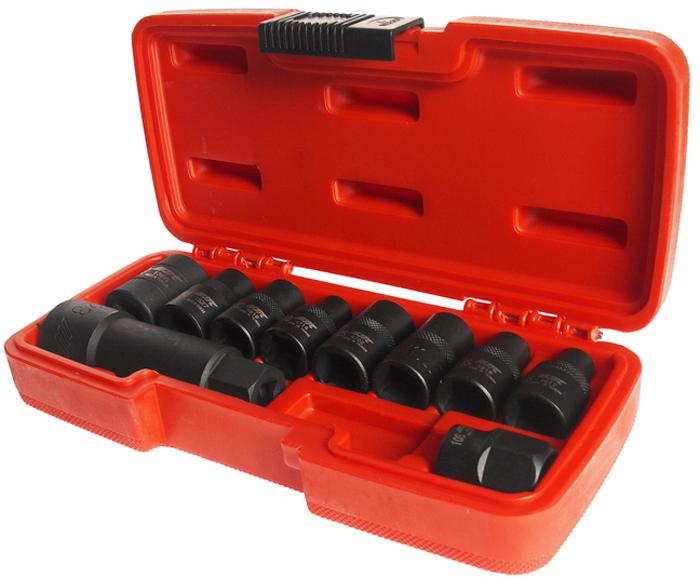 """JTC Набор головок специальных 5-гранных и RIBE, 10 шт. JTC-4918SJTC-4918SНабор специальных пятигранных и RIBE головок для откручивания некоторых видов специальных болтов автомобилей. Применяется, например, для болтов головки двигателя, центральных болтов промежуточного вала и т. п. В комплекте:Головки RIBE: 1/2"""" DR х M6S, M8S, M10S, M11S, M12S. Пятигранные головки: 1/2"""" DR х 10, 12, 14, 19 мм. Пятигранные головки: 3/8"""" DR х 23 мм.Общее количество головок: 10."""