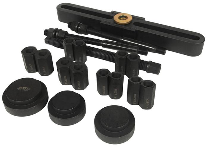 JTC Съемник ступицы универсальный для грузовых автомобилей. JTC-5167JTC-5167Применяется для демонтажа ступицы на большинстве грузовых автомобилей. Диапазон работы: 110-448 мм. Размер адаптеров: M18xP1.5, M20xP1.5, M22xP1.5, M24xP1.5, M30хP1.5, 7/8xW11. Размер оправок: D90 x d62.7, D95 x d65, D110 x d85. Применение: для японских и европейских грузовиков.