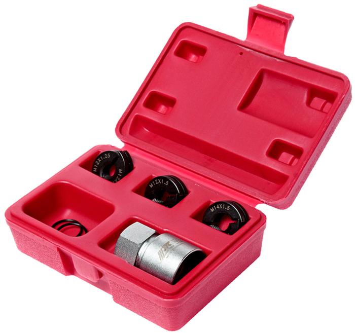Набор для восстановления резьбы шпилек колес JTCJTC-5201Инструмент состоит из двух половинок, которые надеваются на резьбу восстанавливаемой шпильки. Фиксируется стопорным кольцом, после чего специальным цилиндрическим захватом с помощью ручного инструмента восстанавливается резьба. Инструменты обеспечивают восстановление резьбы без повреждения уцелевших участков, что не всегда возможно при работе стандартными средствами для восстановления резьбы. Размер: M12 x 1.25, M12 x 1.5, M14 x 1.5, для небольших автомобилей.