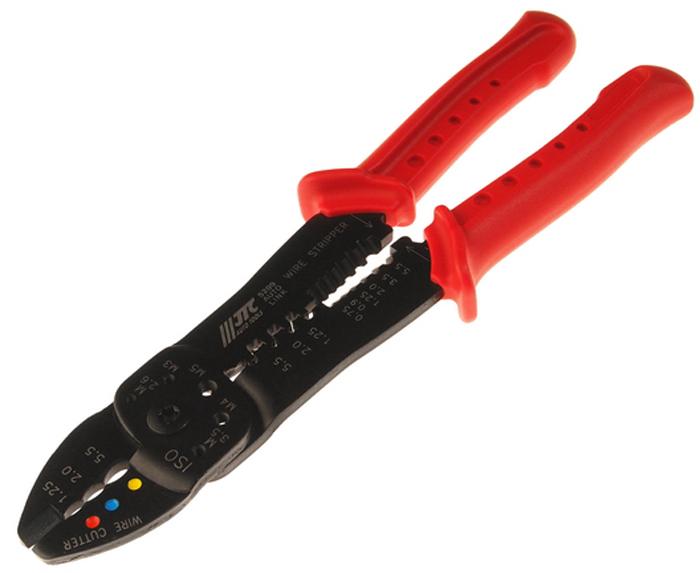 Клещи обжимные JTC, 5 в 1. JTC-5209JTC-5209Кусачки JTC предназначены для провода, обжима изолированных клемм/кусачки для винтов/ щипцы для снятия изоляции/для опрессовки клемм.Размеры: Общая длина: 230 мм. Ширина: 4,0 мм.Материал: Среднеуглеродистая сталь HRC 48°~53.